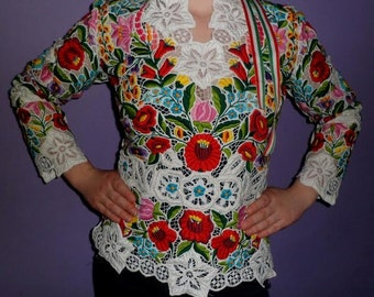 Hungarian-Traditional Kalocsa Lace Top-Size-All/Free shipping