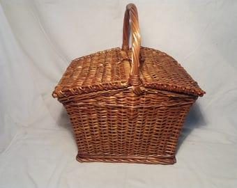 Vintage Handmade Straw Picnic Basket - NEW