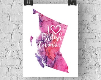 I Heart British Columbia Map Art Print, I Love BC Watercolour Home Decor Map Painting, BC Giclee Canada Art, Housewarming Gift, Moving Gift