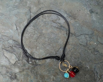 Adjustable Cord with Turquoise, Coral and mini Vulture Pepa / adjustable cord with turquoise, Coral and mini Vulture Pepa
