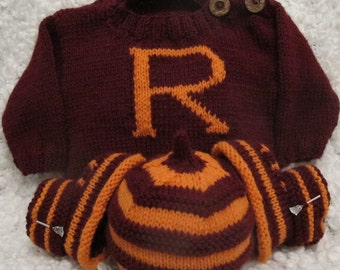 Gryffindor sweater, booties & hat set hand knitted