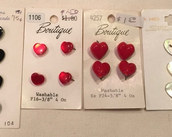 Vintage Heart Button Lot Cards 15 Buttons Total