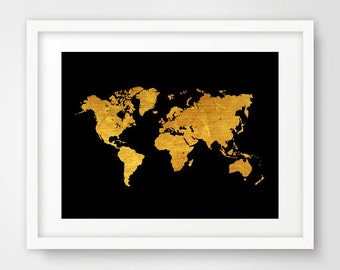 World map wall art prints, modern decor, gold world map, cool posters, world map poster, wall prints, living room art, travel world map