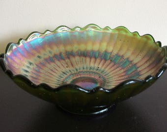 FENTON Stippled Rays Green Carnival Bowl scalloped rim ca. 1908 footed 6""
