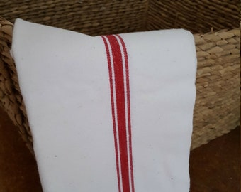 French Tea Towel / Traditional French Linen Kitchen Towel / Red Stripe / French Cotton / Cotton Tea Towel / French Tea Cloth