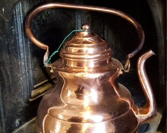 French Copper Kettle / Vintage French Copper Kettle /Kitchen Decor / Stove Top Kettle
