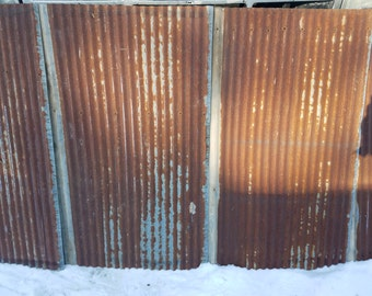 Rusty vintage tin corrugate metal kitchen backsplash wainscoting accent walls etc.
