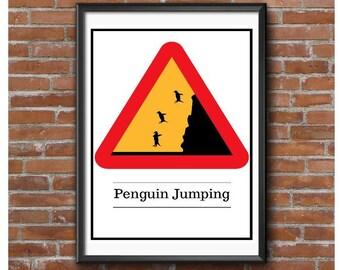 Penguin Jumping Poster