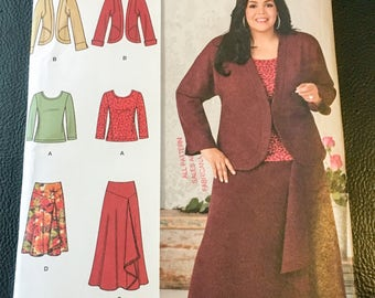 Simplicity Sewing Pattern 1761 Khaliah Ali Collection Skirt  2 Lengths Jacket Knit Top  Size 20W 22W 24W 26W 28W New Uncut FF