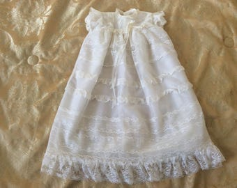 Vintage Christening gown 1960's Nylon Lace newborn baby white retro Baptism