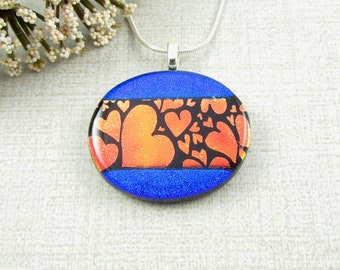 Blue and Red Dichroic Glass Pendant - Oval Fused Glass Heart Pendant - Dichroic Glass Jewelry with Hearts