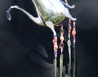 Vintage Silver Teapot Wind Chime Silverware Spoon Wind Chime