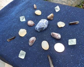17pc Crystal Grid Set for Students, Sodalite, Fluorite, Smoky Quartz, Botswana Agate, Chalcedony