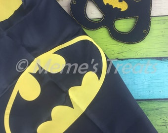 REVERSIBLE Two Color Superhero Cape and Deluxe Felt Mask - Child Cape - Party Favor - Boys Cape and Mask – MMTC0014