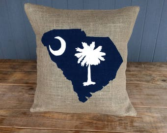 South Carolina State Pillow, State Pillow, Burlap Pillow,