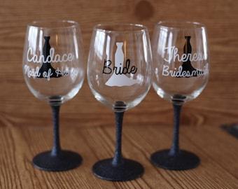 set of 7 bridesmaid glasses, set of 7 wine glasses, glitter dipped wine glasses, glitter stem wine glasses, bridesmaid gifts, wine glasses