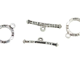 2 Sets 11 mm Base Metal Silver Tone Toggle Clasps (BMSTGL1121)