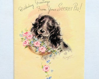 Unsigned Unused Vintage Rust Craft Secret Pal Birthday Card with Spaniel Dog and Flowers by Artist Marjorie Cooper 1947