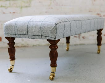 Sprung & Traditionally Upholstered Footstool