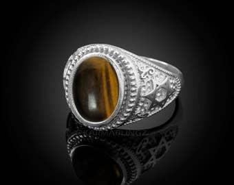 Sterling Silver Star of David Tiger Eye Oval Cabochon Jewish Ring