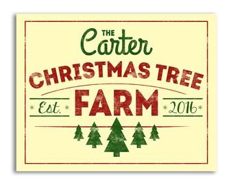 Printable Christmas Tree Farm Sign, Christmas Sign for Couple, Family Name Signs, Christmas Trees for Sale, Family Established Signs