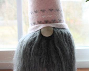 Pink and Dark Grey Valentines Gnome