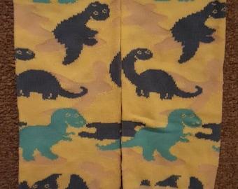 yellow dinosaur baby leg warmers