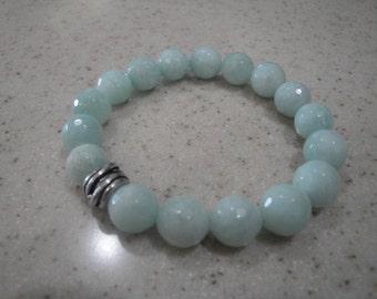 Amazonite gemstone stretch bracelet with metal bead