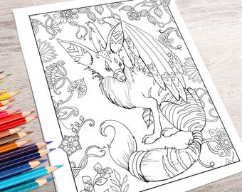 Fantasy Animals Adult Coloring Book Digital Download PDF Pages To Print And Color Just Released