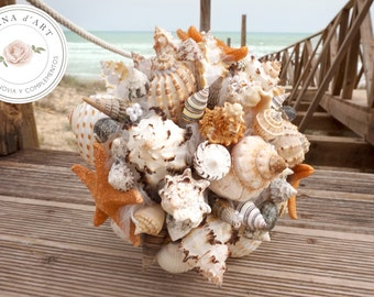 Sea shells bouquet, Beach wedding bouquet, White sea shells and starfish bouquet, Beach wedding bouquet in neutral tones