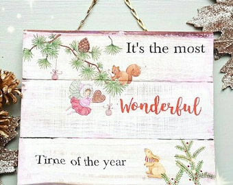 Magical pink christmas fairy sign, it's the most wonderful time of the year plaque, pretty fairy hanging sign, pink christmas decor, cute