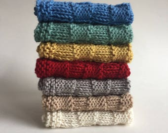 Knit Dishcloths, Cotton Linen Dishcloth Set, Neutral Colors, Washcloths
