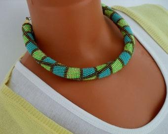 Beaded crochet necklace.