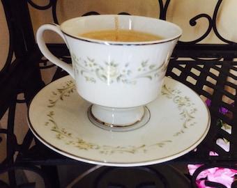 Vintage Teacup: Sandalwood OR Vanilla Scented Tea Cup Candle