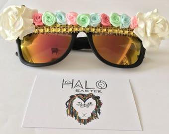 Flower embellished sunglasses. Summer festival fancy dress