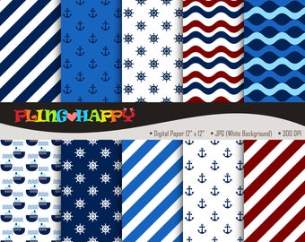 70% OFF Nautical Digital Papers, Nautical Digital Papers Graphics, Personal & Small Commercial Use, Instant Download