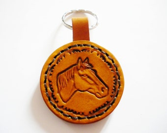 Horse brown leather Keyring