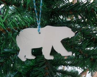 Polar Bear Christmas Tree Decorations, Set of 5 Polar Bear Christmas Tree Decorations, Wildlife Decorations, Decorative Acrylic Baubles