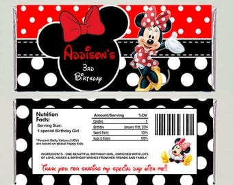 red Minnie Mouse Candy Bar Wrappers - Printable