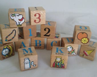 Vintage Pre School ABC Beginners Blocks 1950's in Original Box//Nichigan's Toy ABC Blocks//Alphabet and Numbers Blocks//Wooden ABC Blocks