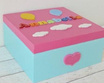 Large Wooden Keepsake Box Rainbows Baby Gift Baby's Firsts Boys Girls New Baby Gift Christening Gift Rainbow Decor Baby Girl Gift