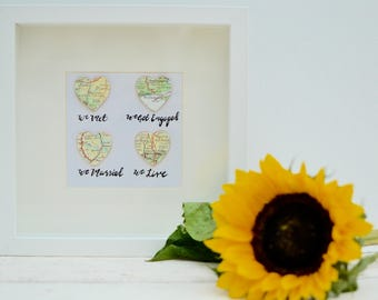 Personalised Wedding Map Picture - We Met We Married We live We love Happy Couple wedding destination picture in box frame