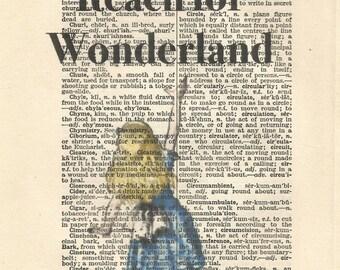 Reach for wonderland Alice in wonderland vintage print wall art quote book art vintage paper art gift