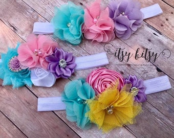 Easter Headbands, Baby Headbands, Flower Headbands, Spring Headbands, Pastel Baby Headbands, Easter Easter Outfit, Easter Gift, Baby Girl