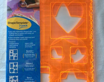 Fiskars Shape Template 3 Pack Heavy Orange Plastic - Squares, Shapes, Stars - Borders, Scrapbooking, Paper Crafts