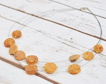 100% Natural Baltic Amber Necklace Amber Collar Choker Egg Yolk Amber Jewelry  Pure Amber Necklace Natural Amber Baltic Amber Raw N046-1