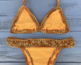 Fabric Handmade Crochet Swimsuit | Crochet Bikini | Handmade Bikini | Cheeky Bikini | Boho Bikini | Crochet Top | Swimwear | Triangle