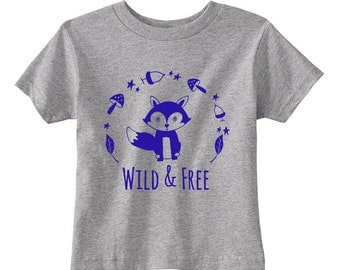 Wild & Free Fox T-Shirt, Heather Gray, Toddler/ Kid's Tees. 100% Cotton. 2T, 3T, 4T, 5/6T. Gray.