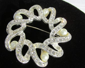 Vintage Sparkley Silver Rhinestone and Pearl Brooch