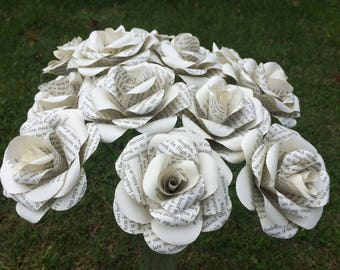 12 long stem book paper flowers perfect for arrangements home decor wedding anniversary gifts bouquet storybook roses